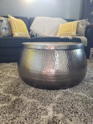 Silver Hammered Metal Cala Coffee Table By World Market Hammered