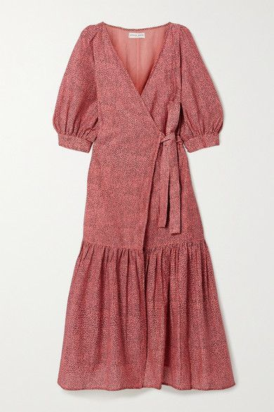 APIECE APART - Bougainvillea Printed Cotton And Silk-blend Voile Wrap Dress - Pink #springdress #summerdress