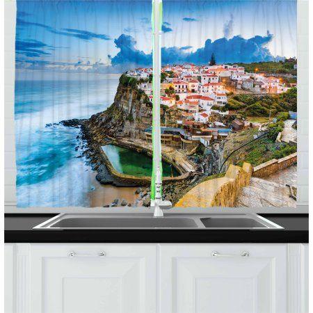 Mediterranean Curtains 2 Panels Set Portuguese Town Coast Azenhas