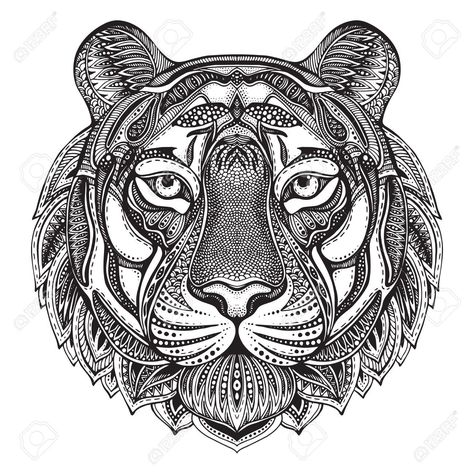 Photo of Hand drawn graphic ornate tiger with ethnic floral doodle pattern.Vector..