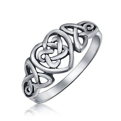 BFF Infinity Knot Irish Celtic Band Ring 925 Sterling Silver 1MM Band