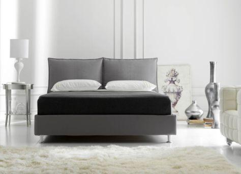 Spring letto matrimoniale con contenitore in microfibra tortora - art deco mobel design alta moda luxus zu hause