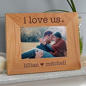 I Love Us 5x7 Personalized Picture Frame Picture On Wood