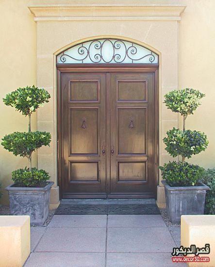 ابواب منازل اشكال ابواب خشب داخلية وخارجية للشقق قصر الديكور Exterior Wood Entry Doors Entry Doors Wooden Double Doors