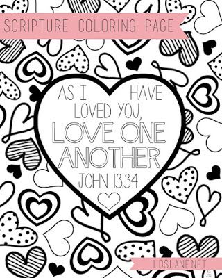Coloring Page If Ye Love Me Keep My Commandments Valentine