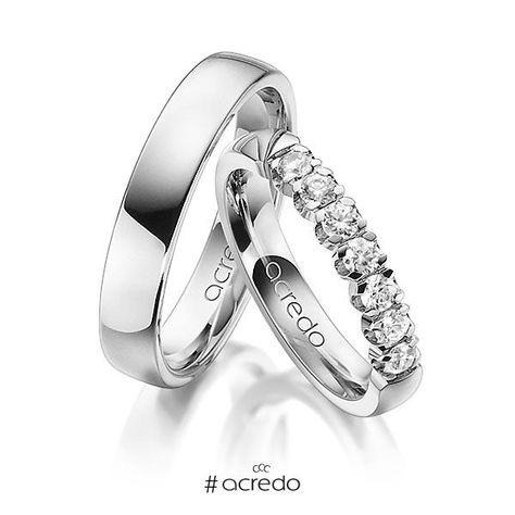 Alianzas de boda oro blanco o platino con diamantes