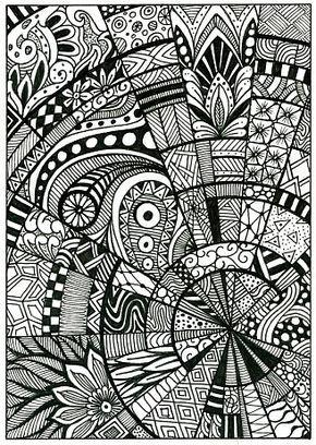 Doodle Pattern Drawing Zentangle Postcard Mandala Drawing
