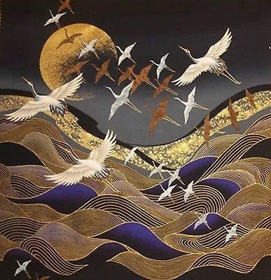 """Japanese Cotton Fabric © Kona Bay Panel """"Flying Cranes, Waves and Golden Moon """" Japanese Textiles, Japanese Patterns, Japanese Fabric, Japanese Prints, Japanese Crane, Japanese Cotton, Japanese Painting, Chinese Painting, Chinese Art"""