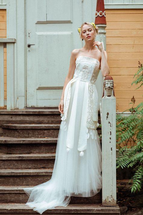Robe de mariée Constance Fournier I Collection 2019 I Robe Sigrid I Création unique sur-mesure I Coiffe Constance Fournier