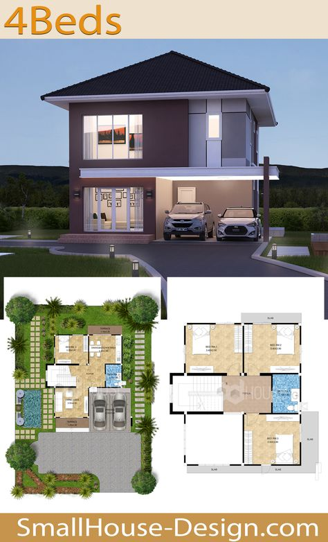 Small House Design Plot 13 x 14 with 4 Bedrooms. EARTH HOME SERIES Tropical Style EA-118 2-story house. The house has 4 bedrooms with 2 bathrooms,Parking for 2 cars. Usable area 160 square meters, Land area 45 Square Wah, 14 meters wide and 13 meters long.