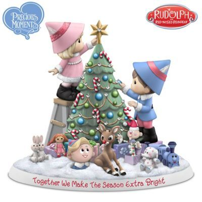 Precious Moments Christmas Lights 2020 Precious Moments And Rudolph Illuminated Porcelain Figurine in