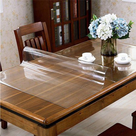 60x120cm Transparent Wipe Clean Tablecloth Mat Pvc Glass Effect Table Protection Cover Table Cloth Coffee Table Dining Place Mats
