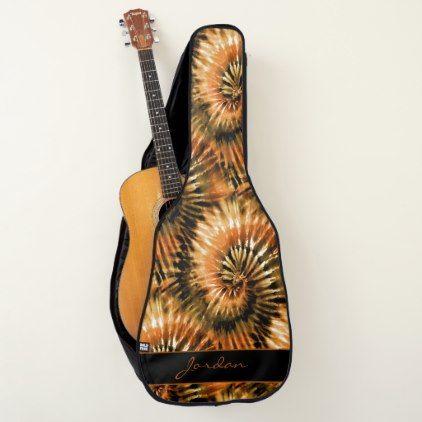 Rust Brown Tie Dye Retro Pattern With Name Guitar Case Zazzle Com Retro Pattern Brown Tie Retro Tie