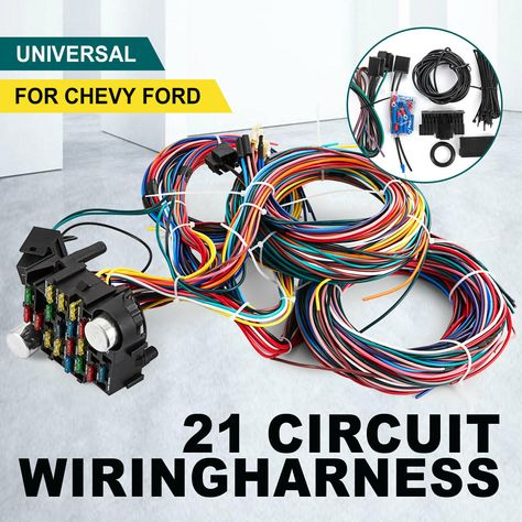 21 CIRCUIT WIRING Harness For Chevy Universal Wires Fit X-long - $91.50.  Visit Our Store 21 Circuit Wiring Harness Fit CHEVY Mopar FORD Hotr…   Hot  rods cars musclePinterest