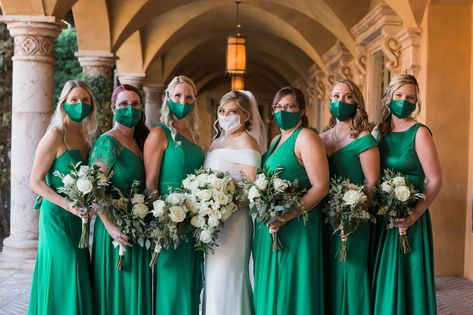 What a cute way to stay safe and stylish all at the same time! Creating matching masks for your bridal party looks great! | Villa Siena | Wetter Photography | #Villasiena #weddingvenue #gilbertarizona #arizonaweddings #arizonaweddingvenue #matchingmasks #covidweddingideas #bridalparty #weddingparty #bridesmaidsdresses #green