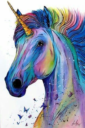 Pin Von Vania Araujo Auf Colourful Art Einhorn Kunst Aquarell Leinwand Kunstproduktion