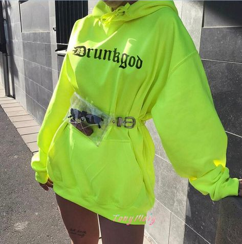 Pocket Fluorescence Green Hoodie Sweatshirt