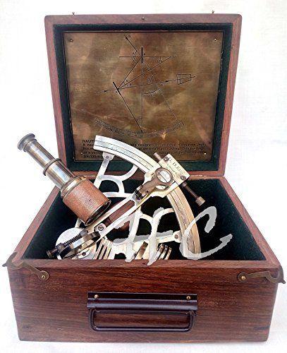vintage brass nautical maritime sextant astrolab ship instrument w// wooden box