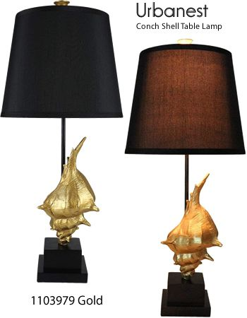 Urbanest 1103979 Conch Shell Table Lamp Coastal Style Table Lamps Deep Discount Lighting 1103979 Gold Black Linen Shade With Gold Table Lamp Coastal Style Discount Lighting