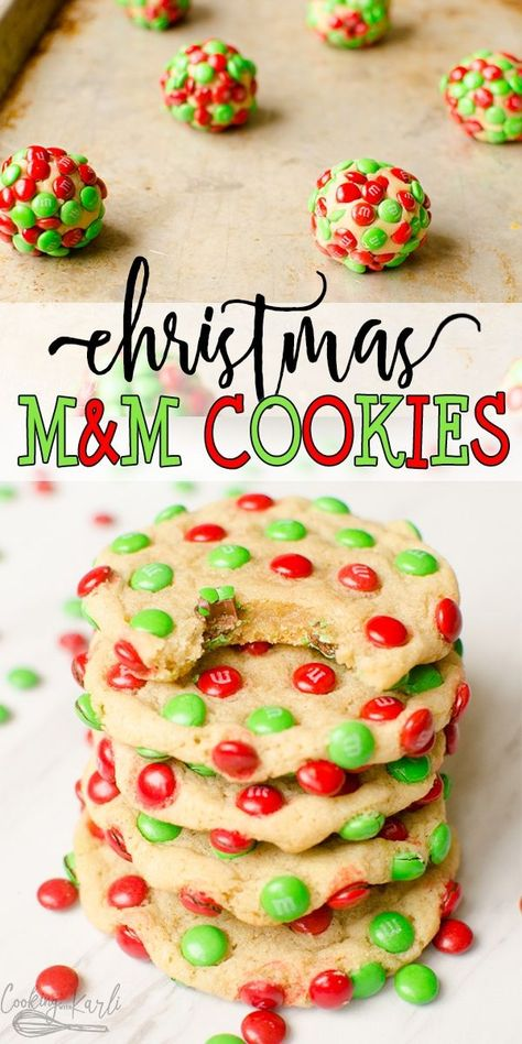 MM Christmas Cookies are a delicious, chewy vanilla cookie covered in Mini Holiday MM's. These easy Christmas cookies are not only festive looking but taste great too. |Cooking with Karli| #christmascookie #mms #mmcookie #recipe