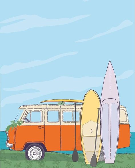 SUP art print Paddle on Stand Up Surf Paddleboard Poster Motivational sports yoga Suplife vm bus Boarding Printable Wall Art water vmbus Bedroom Wall Collage, Photo Wall Collage, Picture Wall, Poster Wall, Poster Prints, Cute Patterns Wallpaper, Aesthetic Painting, Hippie Man, Surf Art