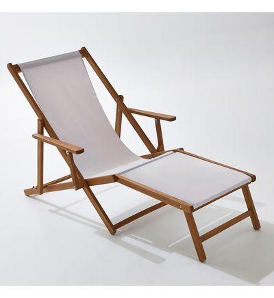 Chaise Longue Acacia Et Toile Amezza En 2020 Balancelle Chaise De Plage Pliante Et Chaise