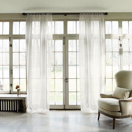 Silk Organza Sheer In True White 50 X 108 Arhaus Furniture Linen Drapes Beige Sheer Curtains