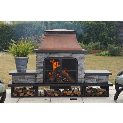 Sunjoy Connan Steel Wood Burning Outdoor Fireplace Wayfair Outdoor Fireplace Patio Design Fireplace