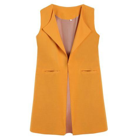 Spring Summer Fashion Women Elegant Office Lady Pocket Coat Sleeveless Vest Jacket Outwear Casual WaistCoat colete feminino