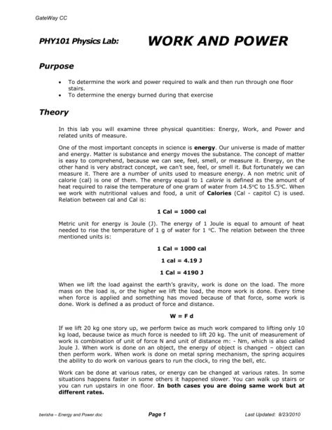 11 Work And Power Lab Worksheet Answers Work With Images