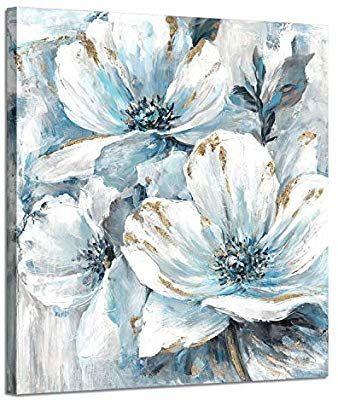 Amazon Com Flowers Artwork Oil Painting Pictures White And Blue