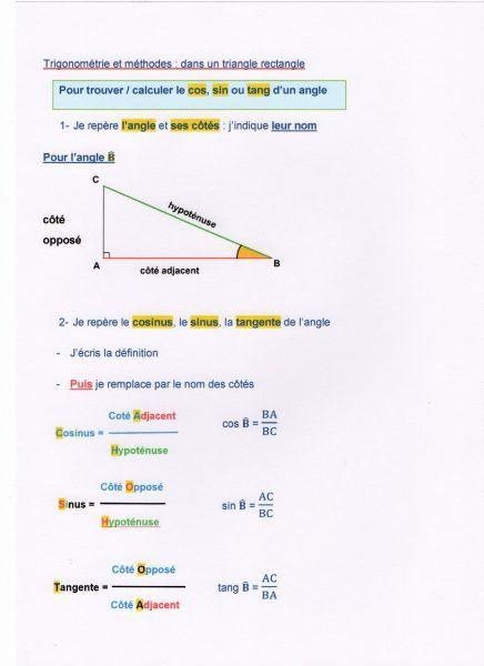 Premiers Pas En Trigonometrie Fantadys En 2020 Trigonometrie Cours De Maths Astuces Mathematiques