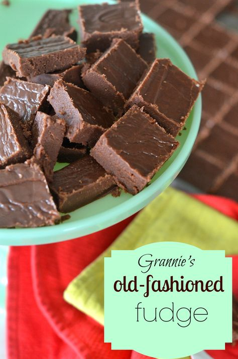 The best recipe for homeade old-fashioned fudge! You don't need a candy thermometer, just a few simple ingredients and about 20 minutes.  This is fudge like grandma used to make! via lifeingrace