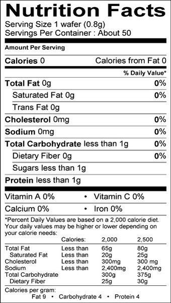 Gluten Free Communion Wafers 50 Nutrition Facts Label Nutrition Facts Nutrition Tracker App