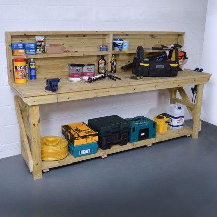 Wooden Work Bench With Back Panel Pressure Treated Wooden Work Bench Heavy Duty Work Bench Wooden Garage Shelves