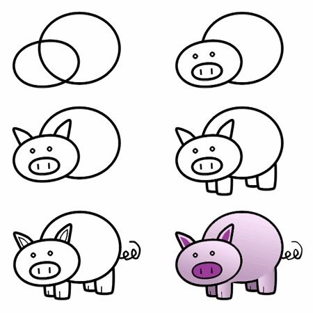 Pig drawing | Drawing for kids, Easy drawings, Drawings
