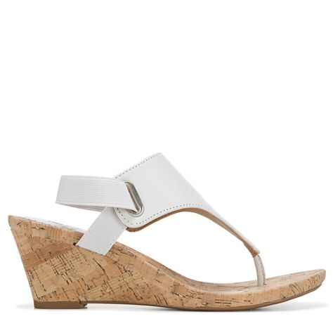 Wedge Sandals (White Leather) | Womens