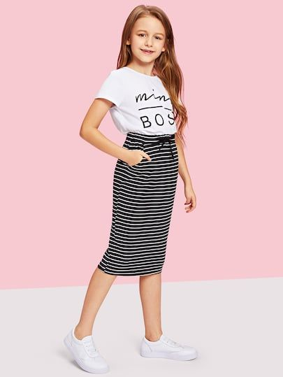 Product name: Girls Drawstring Waist Striped Skirt at SHEIN, Category: Girls Skirts