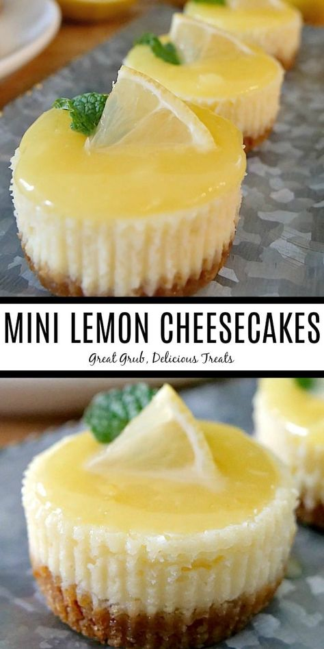 Mini Lemon Cheesecakes bring a twist to your favorite lemon cheesecake dessert recipe with a tangy lemon curd on top.