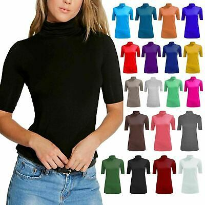WOMEN/'S SLEEVELESS TURTLE POLO NECK TOP LADIES PLAIN ROLL NECK TOP JUMPER 8-22
