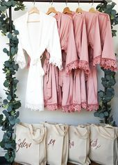 Your #ladies #will #fall #in #love #with #ourgorgeous #bridal #party #robes! #The #3/4 #legnth #sleeve #is #trimmed #with #a #beautiful #lace #around #the #cuff. #Imagine #getting #ready, #toasting #the #bride, #and #having #these #pictures #for #a #lifetime. #We've #gotthe #whole #bridal #partycovered #from #the #Flower #Girl, #to #your #Junior #Bridesmaids, #and