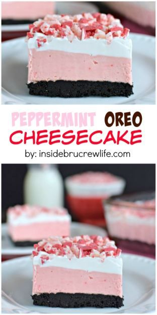 This easy no bake cheesecake has peppermint and Oreo layers. Perfect holiday tre… This easy no bake cheesecake has peppermint and Oreo layers. Oreo Cookie Recipes, Oreo Cheesecake Recipes, Peppermint Cheesecake, Easy No Bake Cheesecake, Christmas Cheesecake, Cheesecake Cookies, Simple Cheesecake, Homemade Cheesecake, Classic Cheesecake
