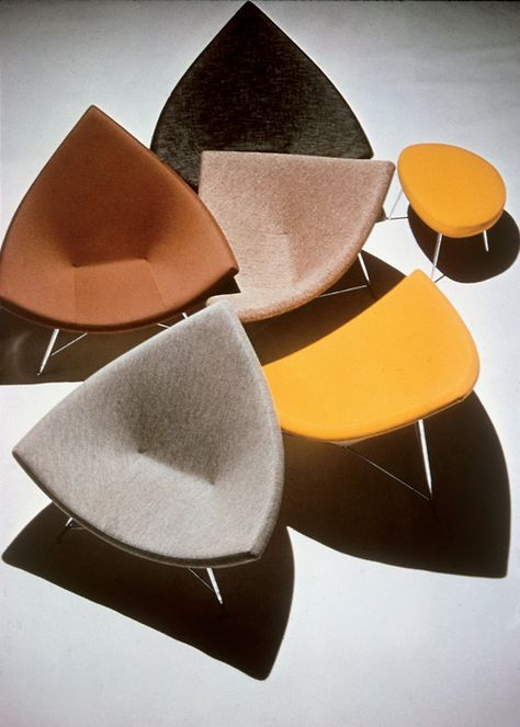 A collection of George Nelson's Coconut chairs and ottomans - 1955