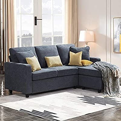 Amazon Com Honbay Convertible Sectional Sofa Couch Small L Couch With Reversible Chaise Linen Fabri In 2020 Sectional Sofa Couch Sofas For Small Spaces Sectional Sofa
