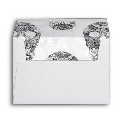 Modern Hand Drawn Floral Lace Black Marble Skulls Envelope Zazzle Com Floral Lace Black Laces Black Marble