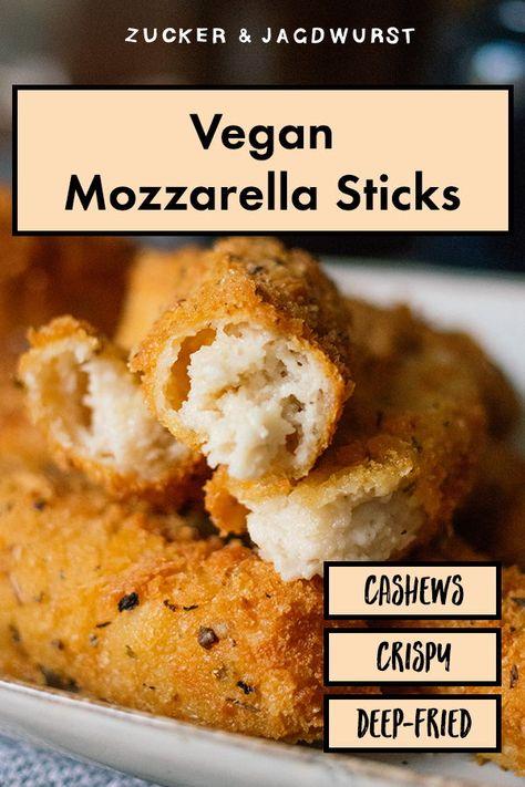 Vegan Mozzarella Sticks With Cashews Rezept Rezeptideen Rezepte Und Mozzarella Sticks