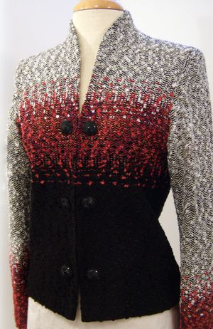 Hand Woven Jacket, Kathleen Weir-West, Fiber Art 10.JPG - Love the color variation in this.