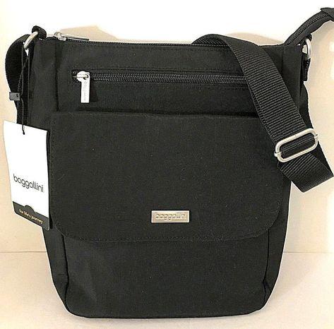 8513cffc2d NEW BAGGALLINI TOWN BAGG Black Crossbody Shoulder Bag Front Pockets Top Zip  NWT  Baggallini  CrossBody