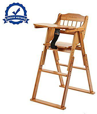 Magnificent Amazon Com Wooden Folding Baby High Chair With Tray Creativecarmelina Interior Chair Design Creativecarmelinacom