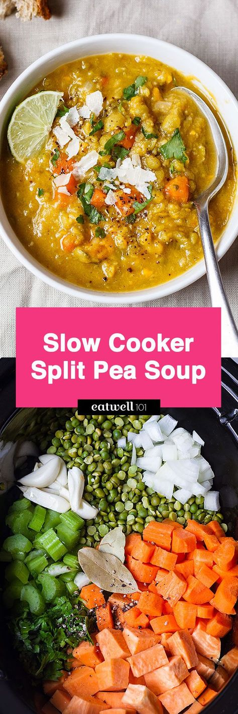 Slow Cooker Split Pea Soup - An easy, creamy soup with tons of flavor. Perfect for a vegan or vegetarian-friendly dinner! - #recipe by #eatwell101